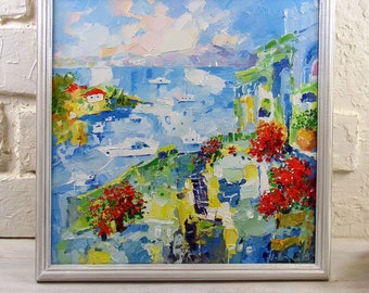 "Сafe Art Original Painting Sea Сoffee Art Impressionist Seascape Abstract Oil Impasto Nautical Artwork 12 by 12"" by Evgenia Korneeva"