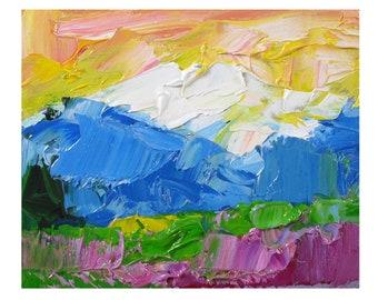 Olympic Mountains Painting Washington Original Art National Park Landscape Impasto Mini Oil Painting by UVIRCOLOR
