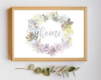 Home Succulent Wreath Printable