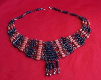 Vintage Coral Pearl and volcanic stone ethnic necklace
