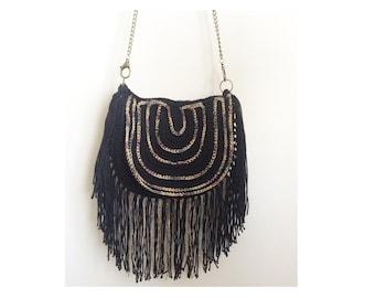 Crossbody black boho fringe bag women s summer bag handmade hippie bag Crochet  handbag Hand knit purse Knit tote Festival bag round purse