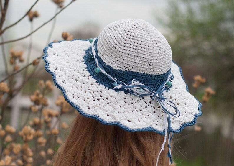 20430c065d54fd Women's Sun Hat Crochet floppy beach raffia hat Hand knit | Etsy