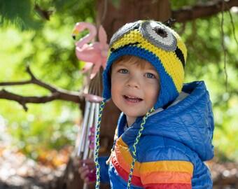 Crochet Minions inspired toddler hat Stuart Bob Kevin/Earflap beanie/Crochet toddler/TemiM