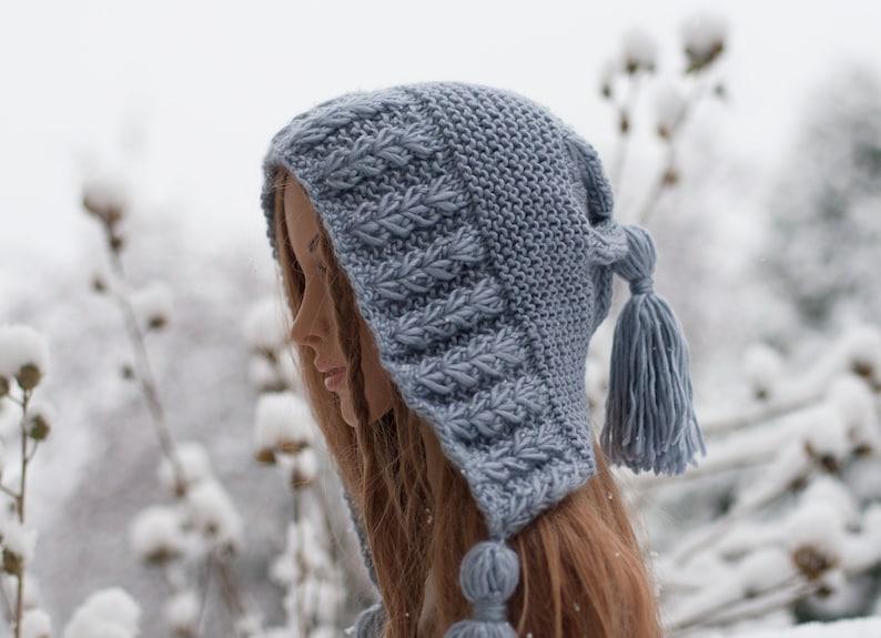 4958237eecc16 Knit Ear flap hat Knit silver grey hat Hoodie hat Pixie gnome