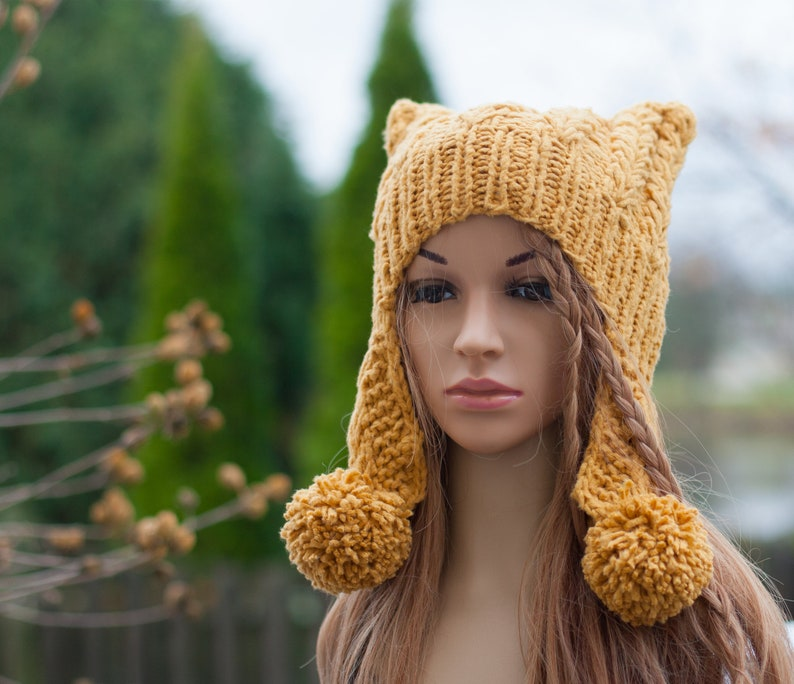 Women s winter hat Knit pussy cat hat Ear flap pom pom hat  567eab23e71
