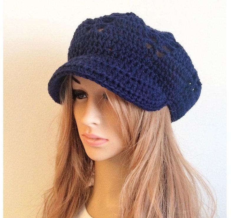 a1e0fb26feb Crochet Newsboy hat navy blue Knit hat Crochet hat Newsboy