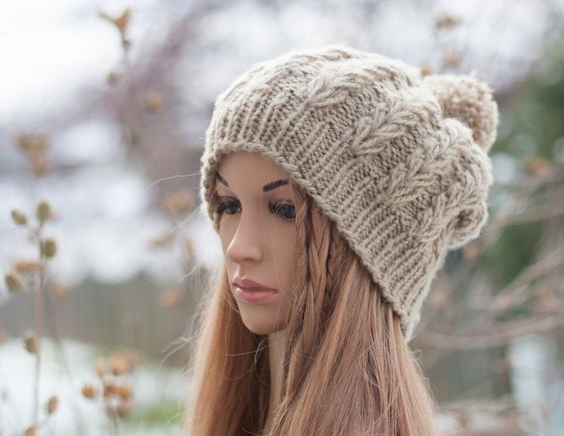 4fadd727649 Women s winter ribbed hat Chunky beanie Knit pom pom