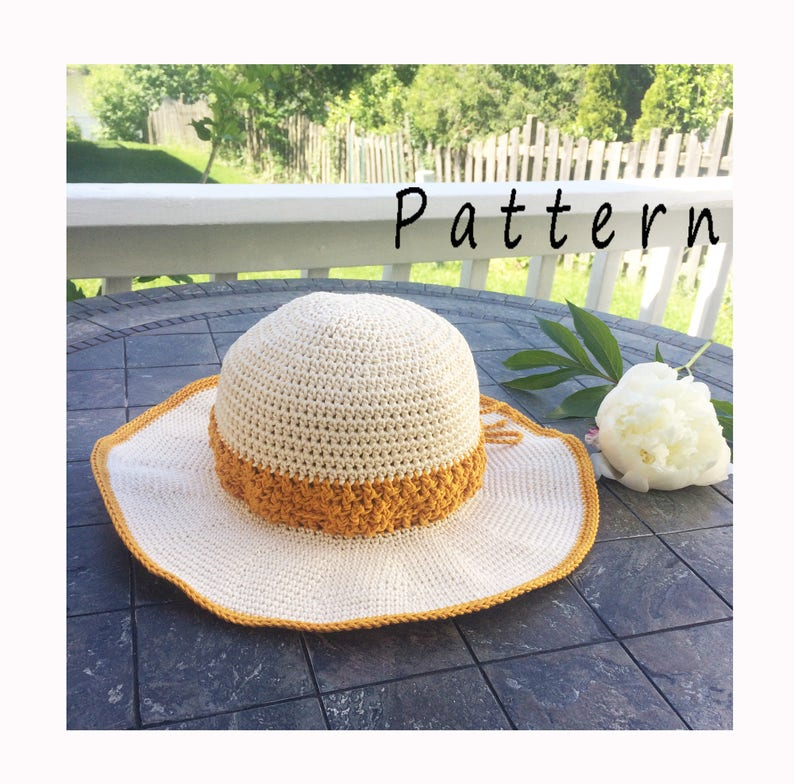 47aa6a8d97b54 Crochet PATTERN sun hat INSTANT PDF download Handmade summer
