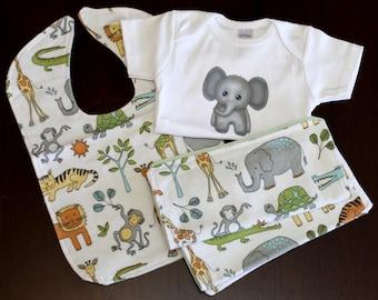 Baby Gift Set (1 Bodysuit, 1 Burp Cloth, 1 Bib, 1 Washer)