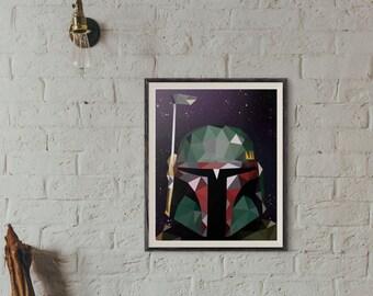 Boba Fett Low Poly Portrait Digital Print, Star Wars, Wall Art, Digital Print, Star Wars Art, Boba Fett Art, Mandalorian