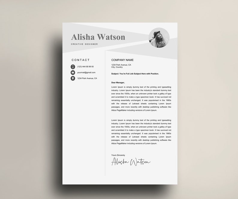 Two Pages Resume Template Resume Template CV Template Instant Download Creative Resume Template Simple Resume Template