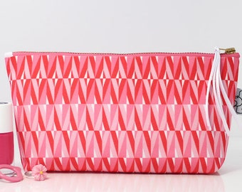 Pink makeup bag, Cosmetic bag, Toiletry bag, Canvas bag by ANJESYdesign