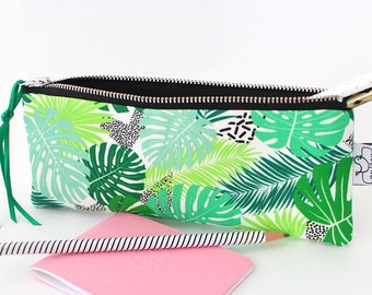 Tropical pencil case, Canvas zipper pouch with an original ANJESY design