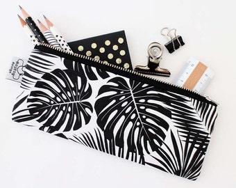 Tropical printed pencil case, Palm leaf canvas pencil pouch, Black and white makeup bag.