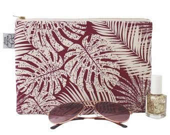 Large pencil case or Large tropical zipper pouch with an original ANJESY Design