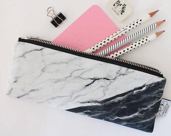 Marble pencil case, Cute pencil pouch, Zipper pouch