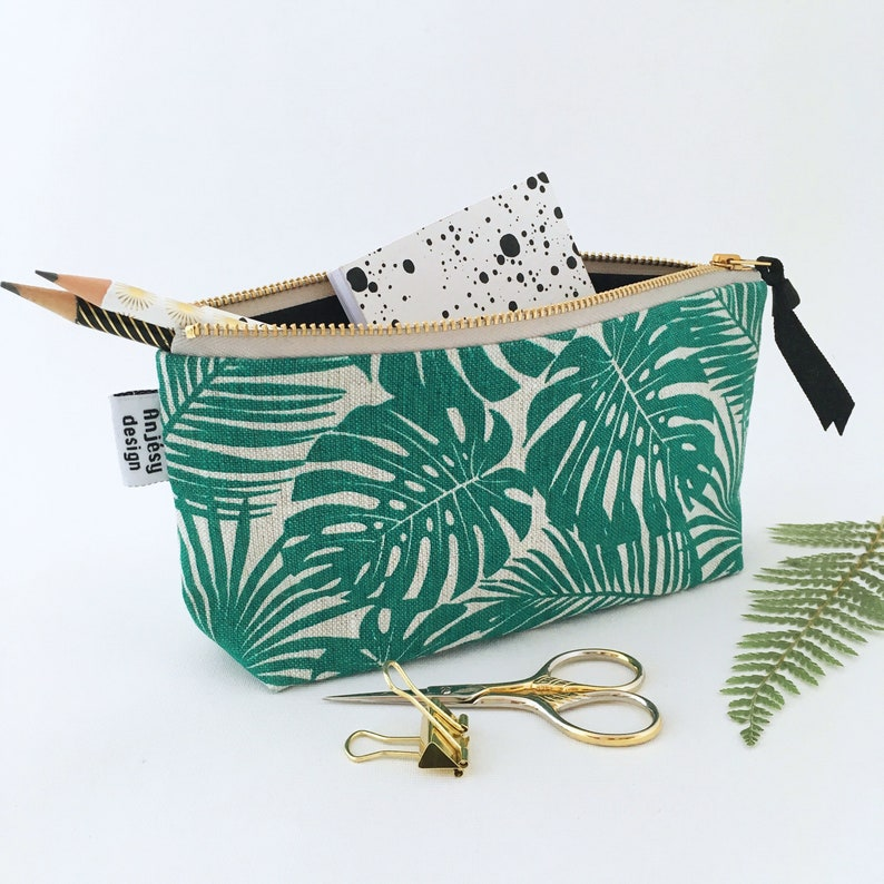 aa3dfb96d Monstera Tropical Pencil Pouch Palm leaves Pencil case Small