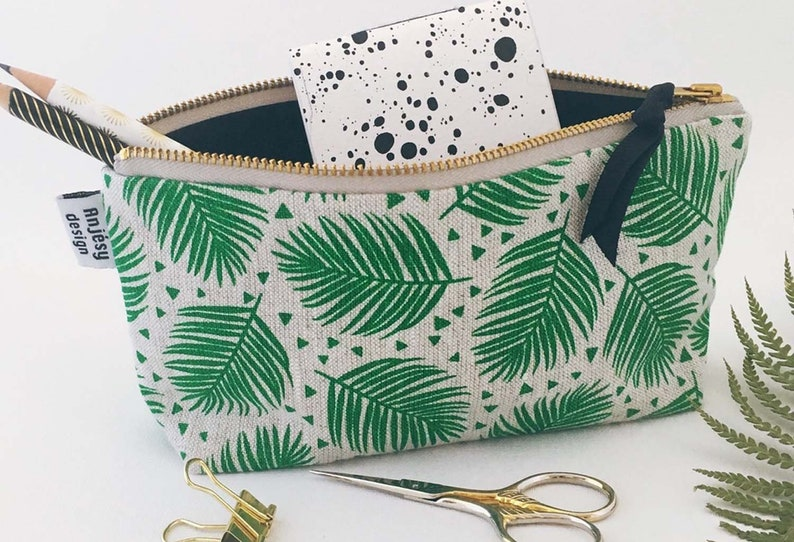 ba06a6a45cd7 Palm leaves pencil case Printed pencil pouch Cute pencil bag Large zipper  pouch Small makeup bag