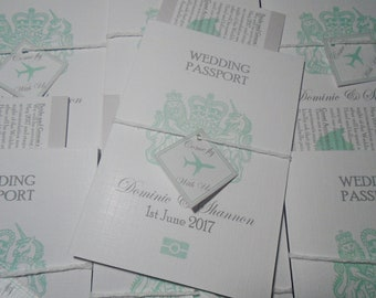 x10 Personalised Passport Destination Wedding Invitation with matching boarding pass rsvp