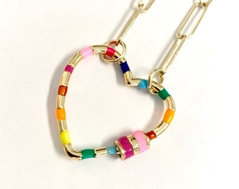 Rainbow Heart Carabiner on a paperclip chain