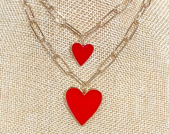 Red enamel heart on a paperclip chain