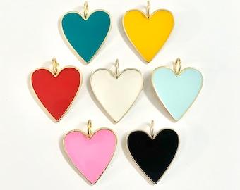 MEDIUM enamel heart on Paperclip Chain