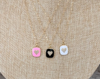Enamel necklace with gold heart