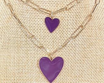 Purple enamel heart on paperclip chain