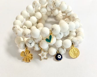 White Turquoise bracelet with gold charm