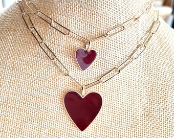 Maroon enamel heart in a paperclip chain