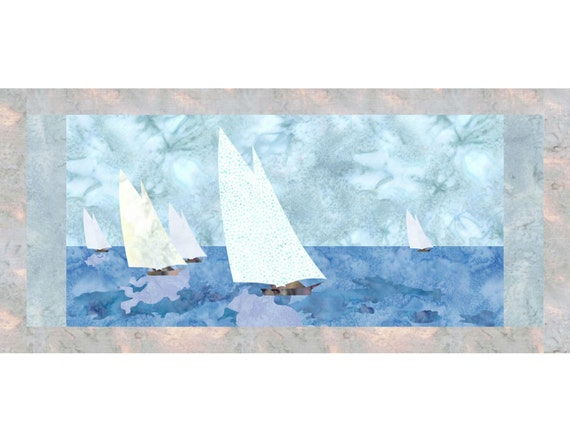 Yacht race sailboat applique quilt block pattern pdf etsy