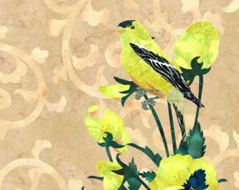 Gold Finch - Bird - Fusible Applique Art Quilt Pattern - INSTANT DOWNLOAD PDF