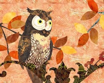 Owl Quilt - Fusible Applique Art Quilt Pattern - INSTANT DOWNLOAD PDF