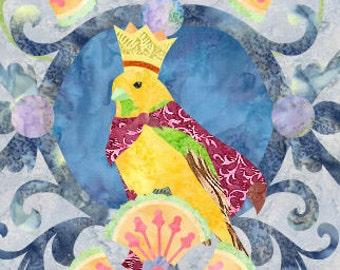 Bird Queen - Bird - Fusible Applique Art Quilt Pattern - INSTANT DOWNLOAD PDF