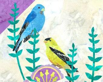 Finch Quilt - Bird - Fusible Applique Art Quilt Pattern - INSTANT DOWNLOAD PDF