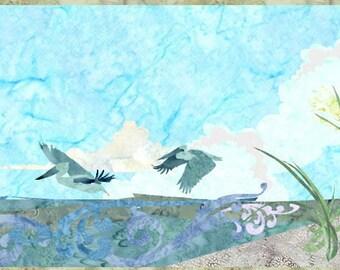 Coastal Rundown - Beach Quilt Pattern Fusible Applique Art Quilt Pattern - INSTANT DOWNLOAD PDF