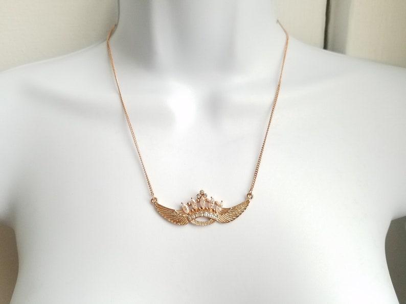 zircon necklace celebration gift wing pendant necklace princess necklace zircon crown pendant necklace wedding jewelry birthday gift