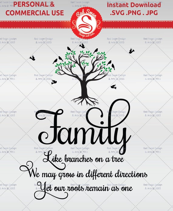 Family Like Branches On A Tree Quote Cutting File Svg Etsy