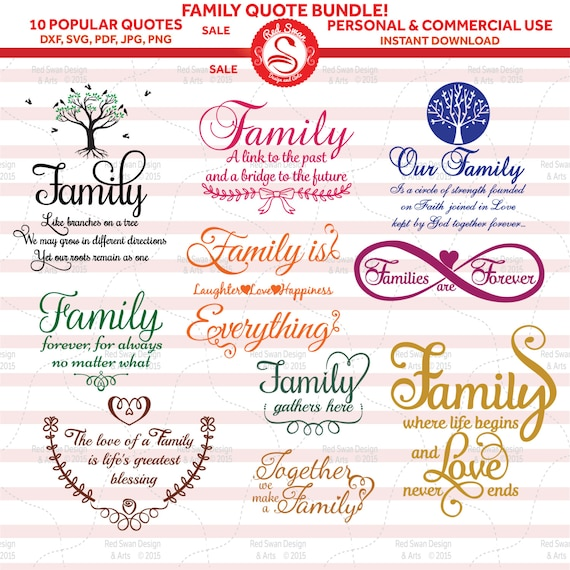 10 Family Quotes Cutting File Svg Dxf Pdf Jpg Png Etsy