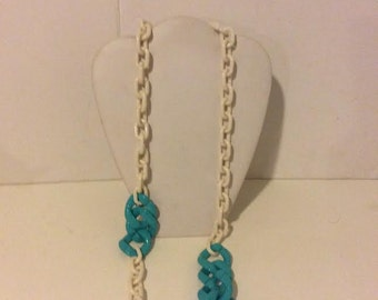 White and light blue chunky resin long link necklace
