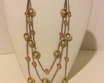 Gold and pink long multi layer elegant circle statement necklace