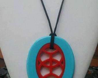 Blue and orange adjustable length large pendant resin necklace