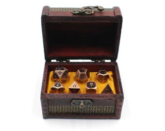 7 Piece Metal Dice Set with Storage Chest / Box for Dungeons and Dragons