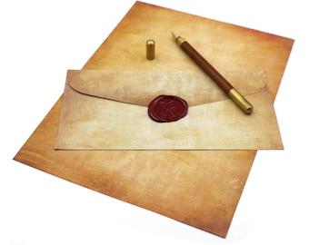 Vintage / Aged Textured Parchment A4 Paper and Envelopes