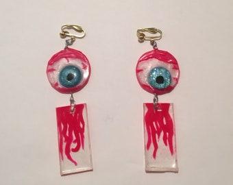Floating Eye of Death! Resin Clip-On Earrings