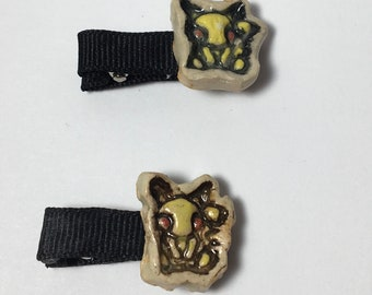 Handmade Ceramic Pikachu Hair clips / Barrettes!