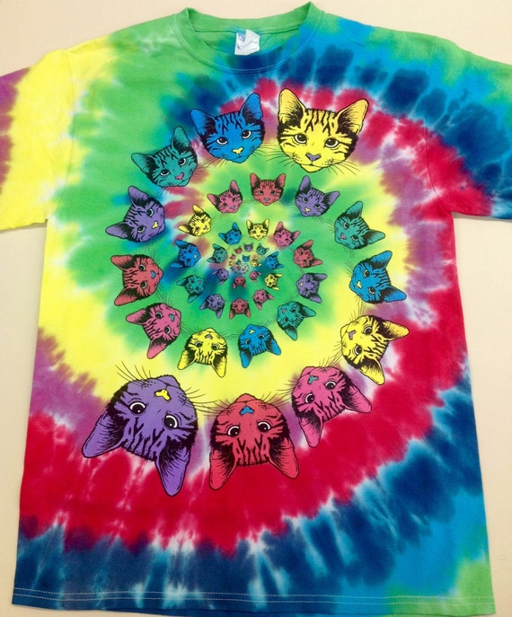 3aa1f51b7 Tie-Dye Rainbow Spiral Multi-Color Cat Spiral Art printed on | Etsy