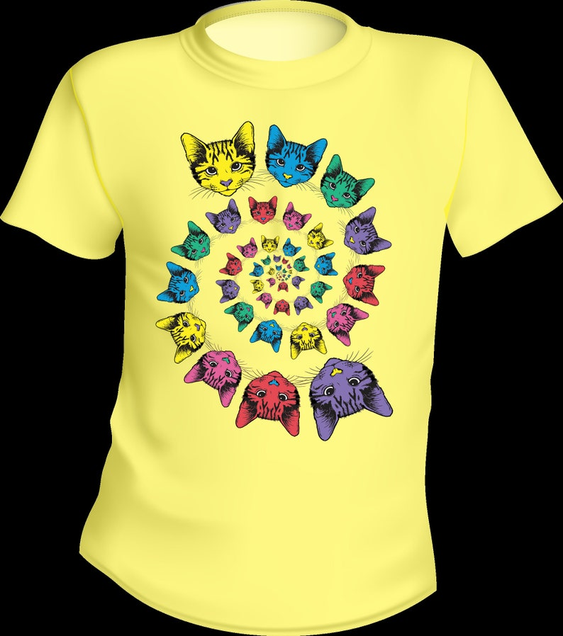 75343f8db Rainbow Cat Double Spiral Tee Solid Color Adult Cotton | Etsy