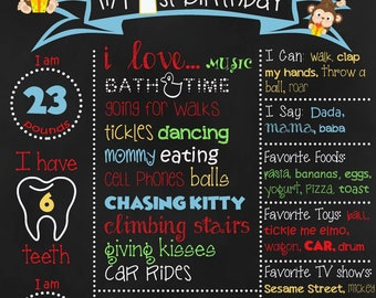 Personalized Baby Boy Monkey Birthday Chalkboard sign