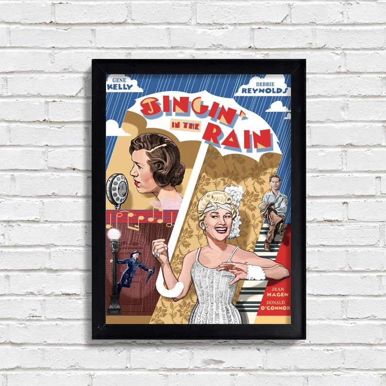Singin/' in the Rain Movie Print Hollywood Classic Movie Art Poster Fan Art